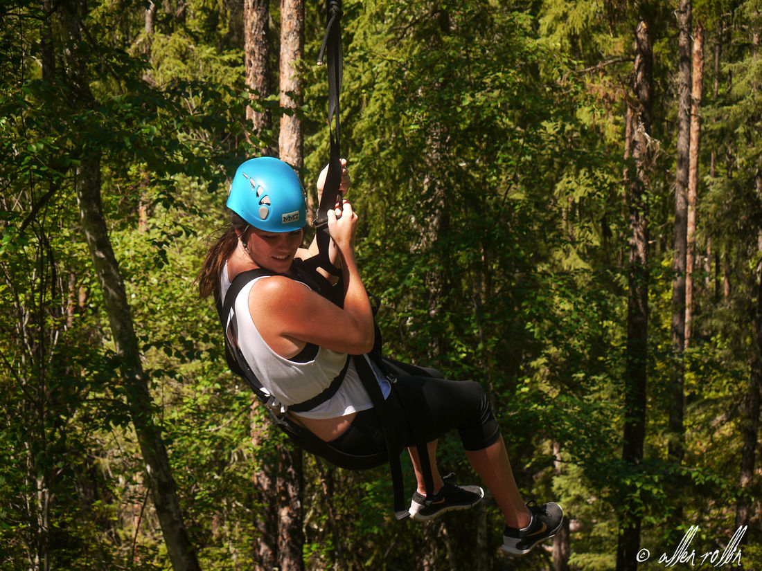 Ziplining is a fun way to take in the trees, mountains, and water landmarks from a unique vantage point.