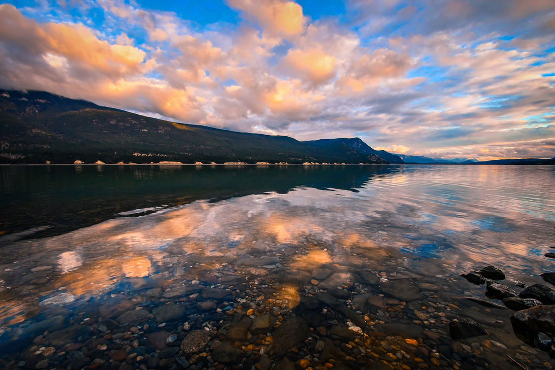 Catch the stunning sunset over Columbia Lake near Fairmont Hot Springs.